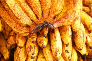 Ripe bananas with spots photo