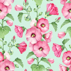 Seamless pattern with watercolor illustration of mallow flowers