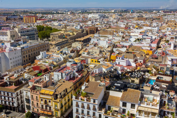 Aerial view of the city of Seville, Spain