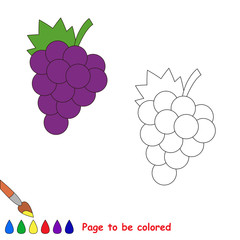 Cartoon grapes to be colored.