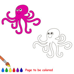 Cartoon octopus to be colored.