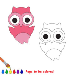 Cartoon pink owl to be colored.