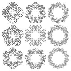 Set of magic knotting rings. Nine circular decorative elements with stripes braiding for your design