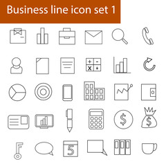 Business line icon vector. set 1