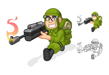 High Quality Army Cartoon Character Aiming a Rifle Gun with Shoot Pose Include Flat Design and Outlined Version Vector Illustration
