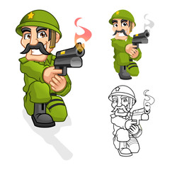 High Quality Captain Army Cartoon Character Aiming a Handgun with Shoot Pose Include Flat Design and Outlined Version Vector Illustration