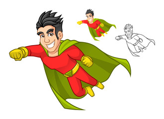 High Quality Cool Super Hero Cartoon Character with Cape and Flying Pose Include Flat Design and Outlined Version Vector Illustration