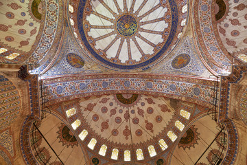 Internal view of Blue Mosque, Sultanahmet, Istanbul