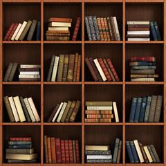 Library bookshelf full of books. Books on the wood shelf.