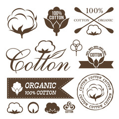 Cotton design set. Cotton labels, stickers, icons and emblems.