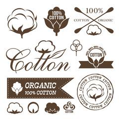 Cotton design set. Cotton labels, stickers, icons and emblems.