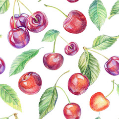 Seamless pattern with cherries. Drawing with colored pencils.