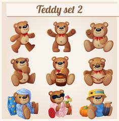Teddy bears set. Part 2. Cartoon vector illustration