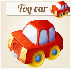 Toy red car. Cartoon vector illustration. Series of children's