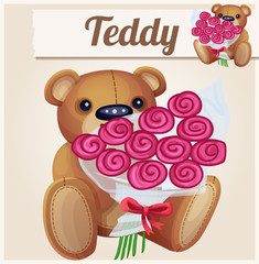 Teddy bear with the large bouquet of roses. Cartoon vector