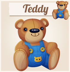Teddy bear in overalls. Cartoon vector illustration