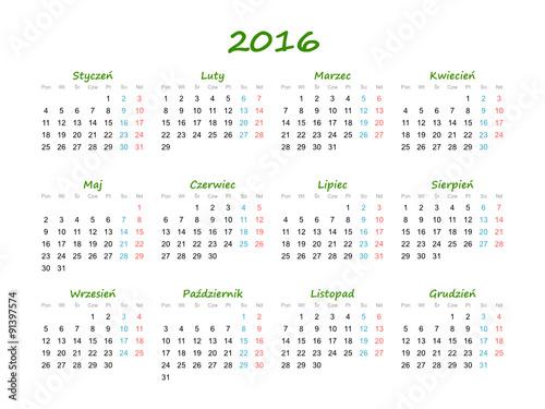 """Kalendarz 2016 Green"""" obrazów stockowych i plików wektorowych ..."""