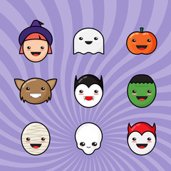 Cute Kawaii Halloween Icons Set. Funny Monster Faces on Colorful