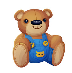 Teddy bear in overalls isolated on white background. Cartoon