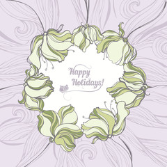 Holiday card with floral background