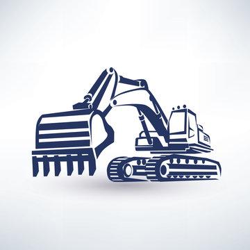 excavator symbol, stylized vector silhouette