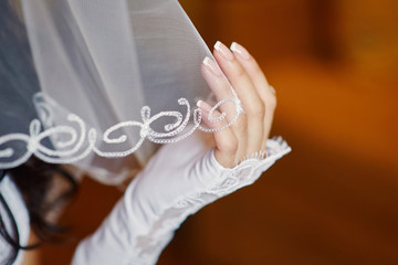 bride's hand holding a veil