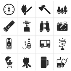 Black Camping, travel and Tourism icons - vector icon set