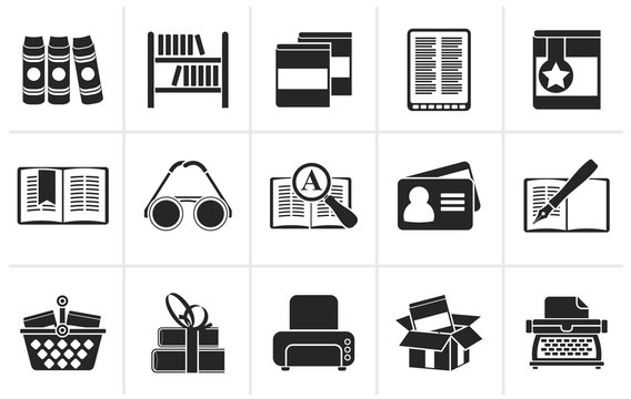 Black Library and books Icons - vector icon set