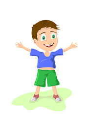 illustration of a fun little boy with open arms on a white background