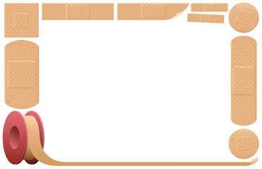Plasters that form a horizontal picture frame, as a symbol for health and medical issues. Isolated vector illustration on white background.