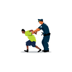 White police arrested a black man. Justice in action. Vector Illustration.