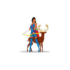 Artemis sign. Mythological Greek Goddess of hunting, wild animals, wildlife, female chastity and fertility. Vector Illustration.