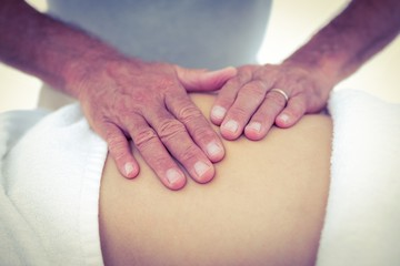 Cropped image of masseur touching pregnant woman tummy