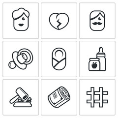 Divorce of parents, education the child, alimony payments icons set. Vector Illustration.