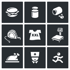 Fighting obesity organism icons set. Vector Illustration.