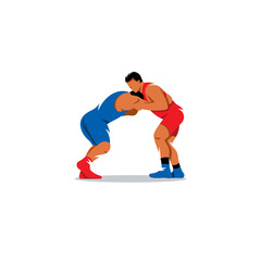 Greco Roman Wrestling sign. Sports duel of two fighters. Vector