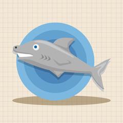 sea animal shark cartoon theme elements
