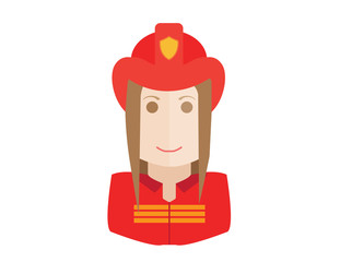 Firefighter, fireman icon. Avatar and person illustration. Flat colored outlined style
