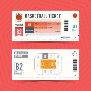 Basketball Ticket Card modern element design