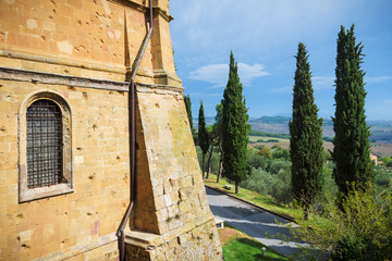 View of the Val d'Orcia from the village of Pienza in Tuscany.