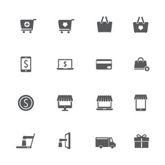 Shopping online icons