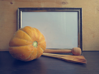 Template frame for writing prescriptions and cantaloupe