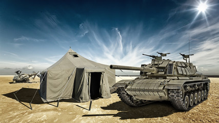 Tank in the desert camp