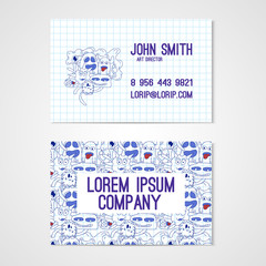 Business card template whit funny doodle monstes. Corporate