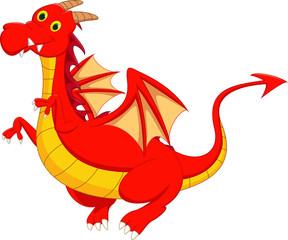 cute red dragon flying