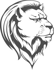Heraldic Lion Head Vector Silhouette