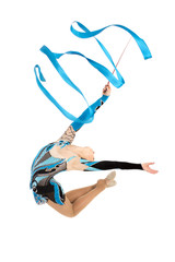 Flexible young gymnast dance with ribbon