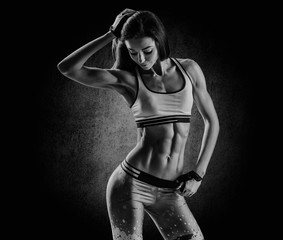 attractive fitness woman, trained female body, lifestyle portrai
