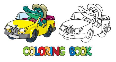 Crocodile-driver. Coloring book