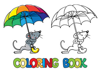 Small funny mouse with umbrella. Coloring book